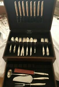 Sterling Silver Flatware Set Sea Rose By Gorham Service For 8 53 Pieces W Chest