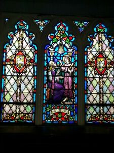 Antique Gothic Church Religious Stained Glass Window Finding In The Temple Jesus