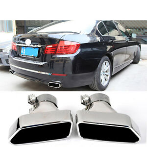 1pair Car Exhaust Tips For Bmw F10 F18 5 Series Stainless Steel Muffler Pipe