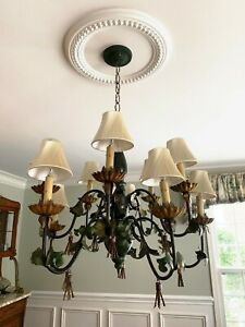 Large Vintage Italian Tole Wood Floral Style 10 Light Arm Chandelier Shades