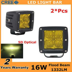 2x 16w Square Amber Cube Flood Led Work Light Bumper 3x3 Yellow Ford Fog 5d 24