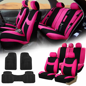 Pink Black Car Seat Covers Full Set For Auto W 5 Headrests Rubber Floor Mats