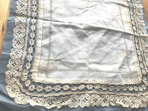 Antique Unused Lace Lawn Wedding Handkerchief On Original Paper