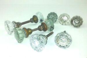 Antique Glass Door Knobs Clear Green Brown Spindles Lot Of 9 Various Hardware