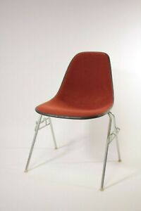 Herman Miller Shell Chair Stacking Base Burnt Red Fabric Mid Century