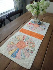Spring Perfect Vintage Orange White Dresden Plate Table Quilt Runner 31x13