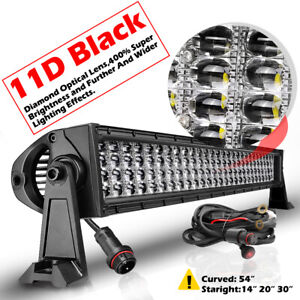 54 Curved Quad Row Led Light Bar Spot Flood Offroad 6000k Driving 12