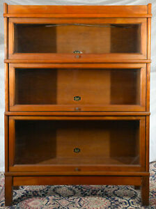 Antique Hale Barrister Bookcase 3 Sections With Base And Top