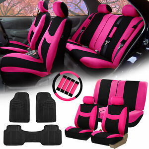 Pink Black Car Seat Covers For Auto W steering Cover belt Pads floor Mats