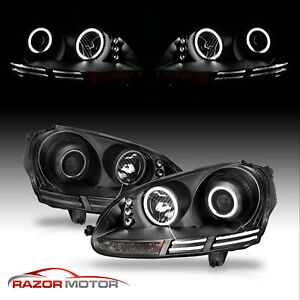 dual Ccfl Halo 2005 2010 Volkswagen Mk5 Jetta golf Led Projector Headlights