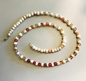 Ancient Egyptian Roman Agate Drawn Glass Beads Necklace Jewellery Gold Plated