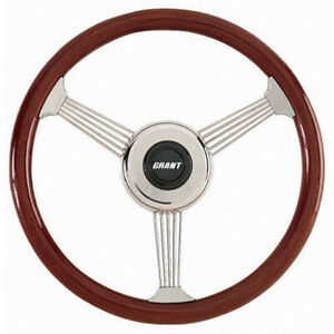 Grant Steering Wheel Banjo 14 3 4 In Diameter 3 spoke Wood Stainless Polished