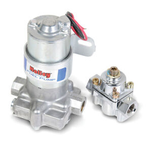 Holley Fuel Pump Blue In line 95gph 7psi 3 8 npt In 3 8 npt Out Regulator Silver