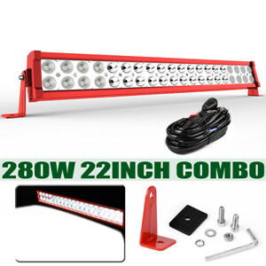 280w 22inch Led Work Light Bar Wiring Dual row Combo Driving Ute Truck 24 Red
