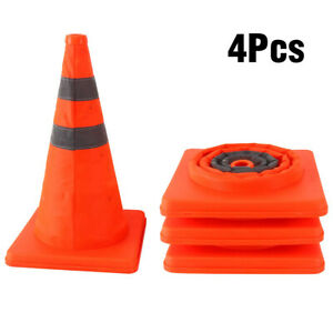 4 Pack Collapsible Reflective Pop Up Road Safety Extendable Traffic Cones 15 5