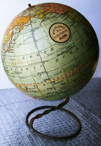 Rand Mcnally New Six Inch Terrestrial Globe Pat Aug 3 1909 Children S Antique