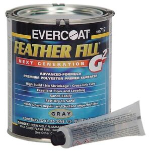Evercoat Feather Fill G2 Polyester Primer Gray Quart Made In Usa me 712
