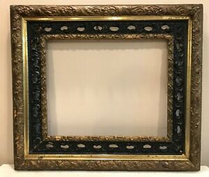 Old Black Gilt Gesso Lg Wood Ornate Chipped 27x30 Chic Picture Mirror Frame
