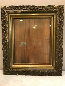 Old Gilt Gesso Large Wood Ornate Chipped Shabby Chic Picture Mirror Frame