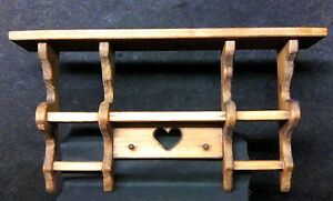 Primitive Vintage Rustic Wood Wall Hanging Shadow Box Shelf
