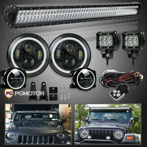 For Jeep Wrangler Jk 52 Led Light Bar 7 Halo Led Headlight 4 Halo Fog Lights