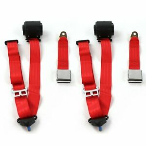 Amc Amx 1967 1974 Airplane 3pt Red Retractable Bucket Seat Belt Kit 2 Belts