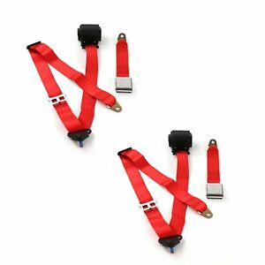Chevy Ii 1966 1967 Airplane 3pt Red Retractable Bucket Seat Belt Kit 2 Belts