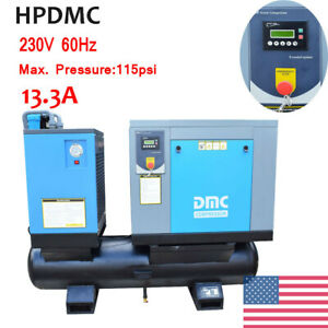 New 10 Hp 39 Cfm Us Air Compressor Rotary Screw Air Compressor Vsd W Tank