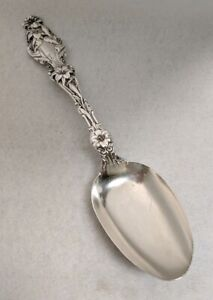 Whiting Lily Sterling Silver 8 1 4 Tablespoon Serving Spoon Monogram M