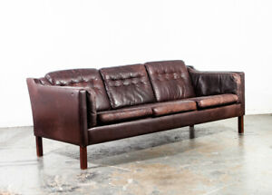 Mid Century Danish Modern Sofa Couch Leather 3 Seater Borge Mogensen Dark Brown