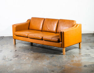 Mid Century Danish Modern Sofa Couch Borge Mogensen Caramel Tan 3 Seater Vintage