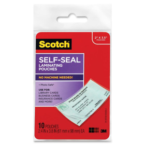 Scotch Self sealing Laminating Pouches Business Card Size 2 Inches pack Of 6