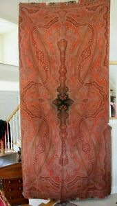 Antique Wool Paisley Kashmir Shawl C1860 L 65 X W 130