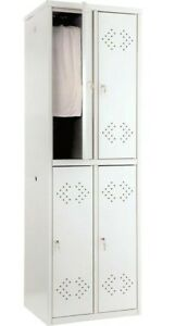 Steel Locker Storage With 4 Tiers 4 Key Air Holes Doors Light Gray Color