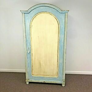 Antique Blue White Painted Cabinet Cupboard With Arched Door
