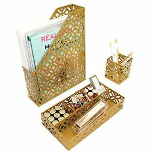 Blu Monaco Gold Desk Organizer For Women 3 Piece Desk Accessories Set Pen Cu