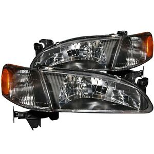 Anzo Crystal Headlights Black With Corner Light 2pc For 98 00 Toyota Corolla