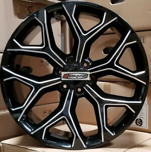 24 Gmc Replica Rims Black Milled Wheels Fit Tahoe Silverado Sierra Yukon Ltz