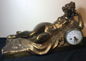 Clodion Reclining Woman With Clock 19 Century Bronze