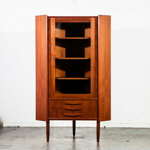 Mid Century Danish Modern Corner Cabinet Bar Teak Glass Display Cabinet Denmark