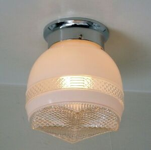 Flush Mount Ceiling Light Vintage Glass Shade New Fixture Base