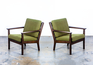 Mid Century Danish Modern Lounge Chairs Set Hans Wegner Getama Ge 265 Green Dark