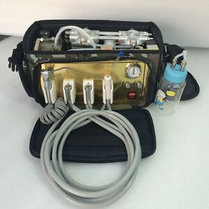 Portable Dental Unit Backpack With Air Compressor 3way Syringe Suction Tube 4h