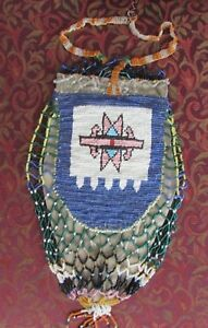 Antique Native American Large Beaded Pouch Double Sided Possibly Cree