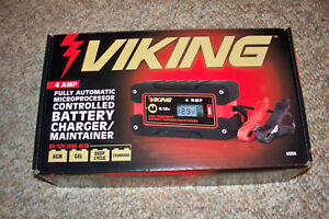Viking Battery Charger Maintainer 4amp Agm Gel Deep Cycle Motorcycle Car Boat
