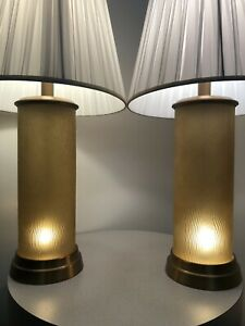 Pair Vintage Mid Century Modern 1990s Brutalist Contemporary Light Up Base Lamps