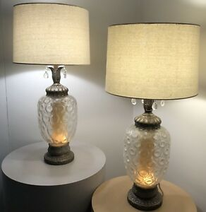 Pair Vintage Mid Century Modern Retro Hollywood Regency Bubble Glass Table Lamps