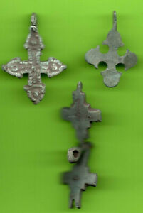 Lot 3 Ancient Viking Enamel Bronze Cross Kiev Russia Ukraine 1100 Byzantine 27