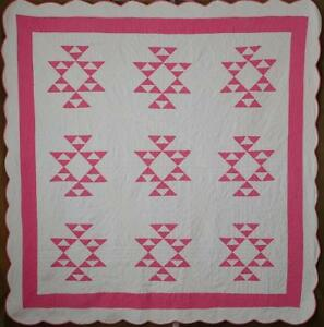 Wonderful Hand Quilting Vintage Pink White Cats Cradle Quilt Cottage Romance