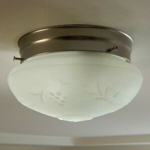 Flush Mount Ceiling Light Vintage Etched Glass Shade New Fixture